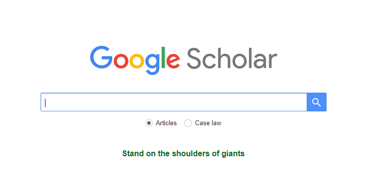 Google Scholar home page for content creation research